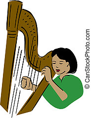 Vector illustration of a harpist.