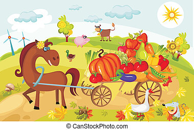 harvest card - vector illustration of a harvest card