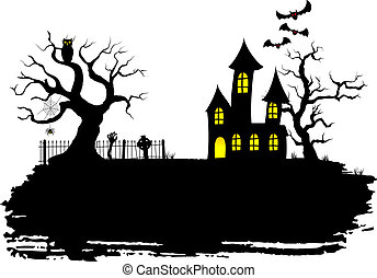 haunted house at halloween - vector illustration of a...