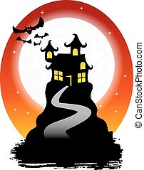 haunted house with bats