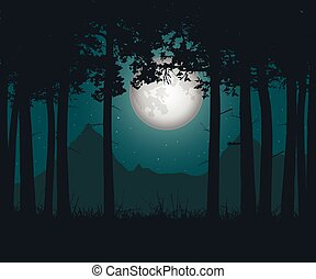 Vector illustration of a haunting forest with grass under a green night sky with moon and stars