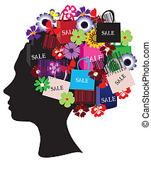 head with shopping icons