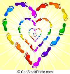 vector illustration of a heart made with the footprints on sunny background