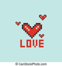 Vector illustration of a heart pixel