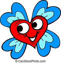 Vector illustration of a heart shaped flower.