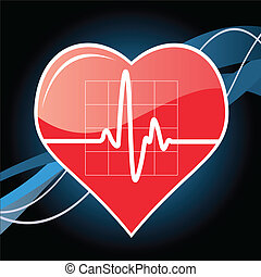 vector illustration of a heart with cardiogram