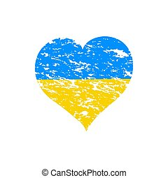 vector illustration of a  Heart with the flag of Ukraine