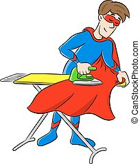 vector illustration of a hero ironing his cape