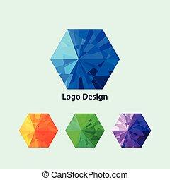Vector illustration of a hexagon logo