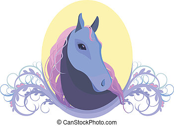 vector illustration of a horse's head in the frame