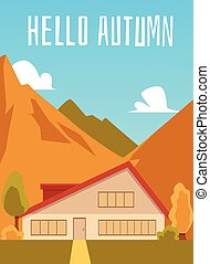 Vector illustration of a house in the mountains.