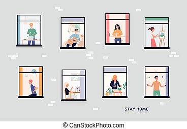 Vector illustration of a house with people in open window spaces.