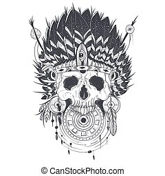 Vector Illustration Of A Human Skull In An Indian Feather Hat Tattoo Template