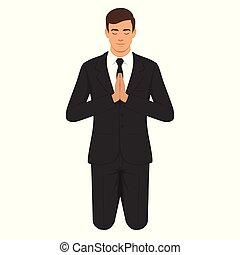 christian prayer, kneeling and praying person. - vector...