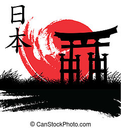 Japanese style - vector illustration of a Japanese style ...