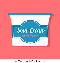 Vector illustration of a jar with sour cream