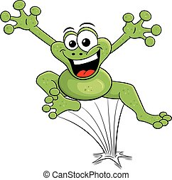 jumping cartoon frog isolated on white - vector illustration...