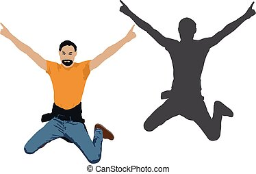 Vector illustration of a jumping man. Cheerful men. People jump shadow silhouette