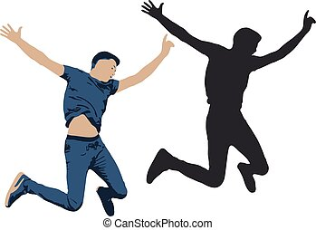 Vector illustration of a jumping man. Shadow silhouette of people jump