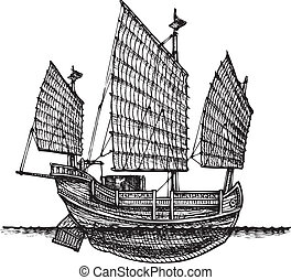 vector illustration of a junk stylized as engraving.