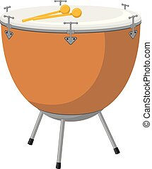 Vector illustration of a kettledrum in cartoon style isolated on white background