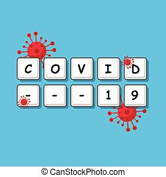 Vector illustration of a keyboard with covid19