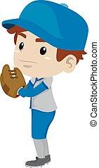 Kid Boy Baseball Player Pitcher