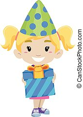 Kid Girl Holding a Gift and wearing Birthday Party Hat