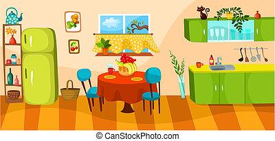 kitchen - vector illustration of a kitchen