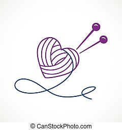 Knitting Vector Heart - Vector illustration of a Knitting...