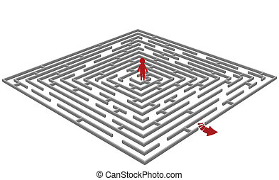 Vector illustration of a  labyrinth/maze with a man in center