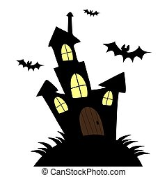 Vector Illustration of a Landscape with a Spooky Haunted Halloween