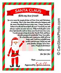 Vector illustration of a letter from Santa Claus.
