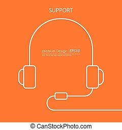 Vector illustration of a linear headphone