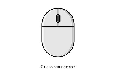 Vector illustration of a linear white flat icon of a digital wireless computer mouse with buttons and wheel on a white background with a black stroke. Concept: computer digital technologies