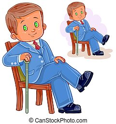Vector illustration of a little boy dressed in retro suit sitting on a chair and holding a cane in his hand.