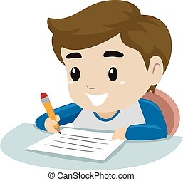 Little Boy writing on a piece of pa