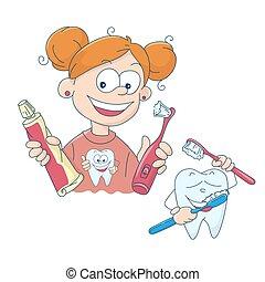 Vector illustration of a little girl brushing her teeth