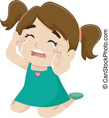 Little Girl Crying - Vector Illustration of a Little Girl...