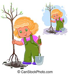 Vector illustration of a little girl planting a tree