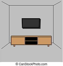 vector illustration of a living room with a desk and television wall