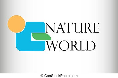 Vector illustration of a logo from an orange circle, a blue figure and a green leaf with inscription nature and the world on a white gradient background with gray edges