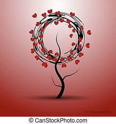 Vector illustration of a love tree with abstract circles and red hearts. Valentines Day and other occasions