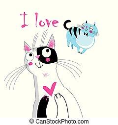 Vector illustration of a loving cat