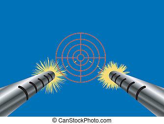 machine gun - Vector illustration of a machine gun with ...