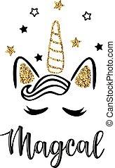 Vector illustration of a magic cute unicorn with stars