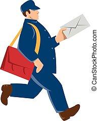 mailman postal worker delivery man - vector illustration of...