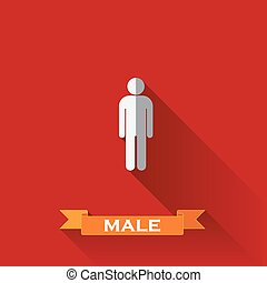 vector illustration of a male sign in flat design style with long shadows