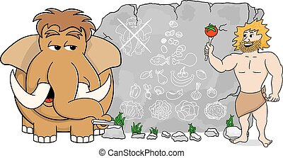 mammoth explains paleo diet using a food pyramid drawn on...