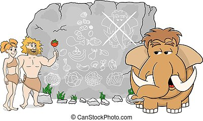 mammoth explains paleo diet using a food pyramid drawn on...